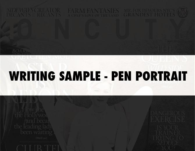 pen portrait - writing sample